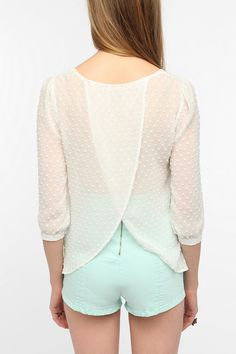 Pins And Needles Clip Dot Tulip Back Blouse  #UrbanOutfitters