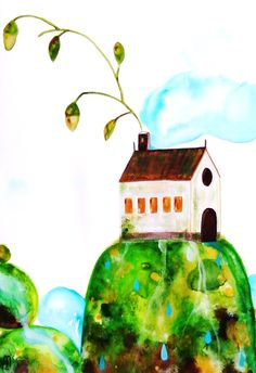 House Original Painting Watercolor Ink Gouache Drawing Nature Sky Plants Contemporary Art Home Decor Flowers Water Wall Art Green Blue Brown. €65.00, via Etsy.