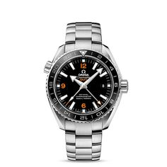 Seamaster Planet Ocean 600 M Omega Co-axial GMT 43.5mm - ref. 232.30.44.22.01.002 : It was with OMEGA's maritime legacy in mind that the brand launched its Planet Ocean line in 2005. The stylish OMEGA Seamaster Planet Ocean 600M GMT pays homage to OMEGA's dive watch heritage. This model, with its scratch-resistant sapphire crystal, features a laquered black dial with a date window at the 3 o'clock position and a central GMT hand. The polished black ceramic bi-directional rotating bezel is…