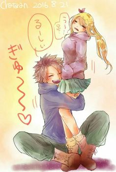 Natsu, Lucy, couple, cute, funny, text, hugging, blushing; Fairy Tail