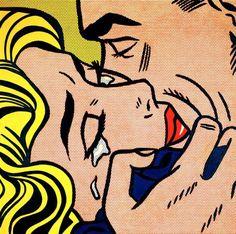 Reproduction de Roy Lichtenstein, The kiss IV (Le baiser 4). Tableau peint à la main dans nos ateliers. Peinture à l'huile sur toile.