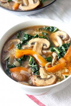 Five Spice Quinoa Soup with Mushrooms & Kale recipe by SeasonWithSpice.com