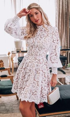 Lace Outfit, Dress Outfits, Casual Dresses, Short Dresses, Fashion Outfits, Lace Dress Styles, Lovely Dresses, White Lace Shorts, Frack