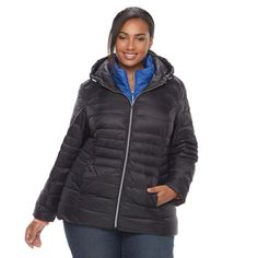 Plus Size d.e.t.a.i.l.s Down Vest & Jacket Set, Women's, Size: 1XL, Black