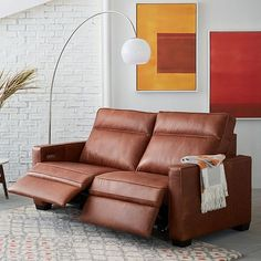 Henry® Leather Power Recliner Sofa   Tobacco | West Elm