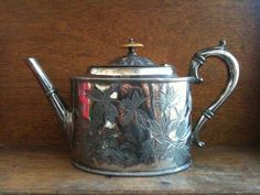 Vintage English Silver Tea Pot Victorian with Bone by EnglishShop, $95.00