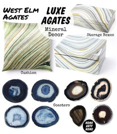 Luxe Agates Mineral Decor @HomeArtyHome Home Arty Home http://homeartyhome.com/luxe-agates-mineral-decor/ @west elm home design accessories