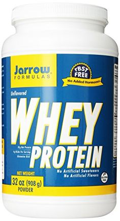 Jarrow Formulas Whey Protein, Natural, 2 Pound  - Easily Dissolvable Whey Protein Formula  - Free from rBST  -100% Natural Unflavored Protein  -No Artificial Sweeteners or Additives  -4.0 grams BCAAs Per Serving