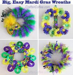 Quattro, divertente e facile corone Mardi Gras al fai da te.  CraftsnCoffee.com
