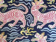 Clarence House Tibet Print Tiger Animal Navy Blue Red Linen Remnant New | eBay