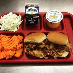 already on trays Tasty nutrition so Lunch Photos, Cafeteria Food, Salad Bar, Food Service, Pulled Pork, Protein Isolate, Whey Protein, Spicy, Lunch Box