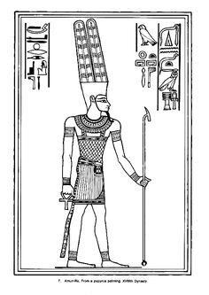 Coloriage du dieu égyptien Amon-Rê.