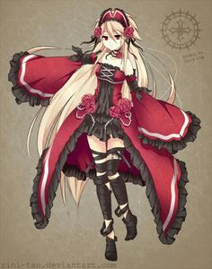 This is Crimea. She has beautiful blonde hair and scarlet eyes. She is a quiet person who is a big fan of anything red, black, and roses. She is the daughter of Athena
