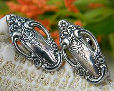 Silverware Flatware Earrings Rose Pattern Vintage Clip Ons