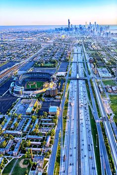 The way to downtown Chicago, USA #aerial_view