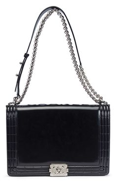 BLACK PATENT LEATHER LARGE BOY BAG ~  CHANEL