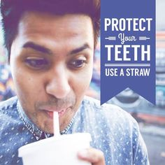 USE A STRAW to protect your teeth! Be sure to position the straw toward the back of the mouth, away from teeth to reduce sugar exposure. Dental Hygiene, Dental Health, Oral Health, Dental Care, Dental World, Stronger Teeth, Dental Problems, Best Oral, Healthy Teeth