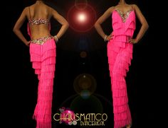 CHARISMATICO Latin Dance inspired pink Fringe pants with rainbow sequin trim #CHARISMATICO