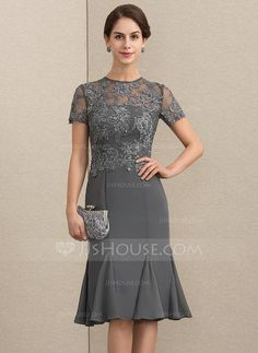 US 142 00 Sheath Column Scoop Neck Knee-Length Chiffon Lace Mother of the Bride Dress With Beading Sequins Mother Of Bride Outfits, Mother Of Groom Dresses, Bride Groom Dress, Mother Of The Bride, Bride Dresses, Long Formal Gowns, Long Cocktail Dress, Lace Dress, Tulle Dress