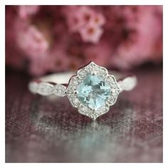 Mini Vintage Floral Aquamarine Engagement Ring 14k White Gold... ❤ liked on Polyvore featuring jewelry, rings, white gold engagement rings, gemstone engagement rings, white gold diamond ring, cushion cut diamond ring and diamond engagement rings