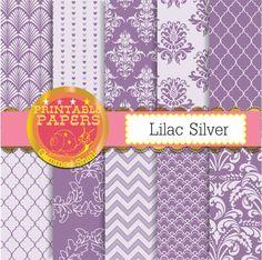 Purple and silver digital paper,lilac digital paper, lilac and silver backgrounds 10 scrapbook papers