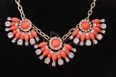 Orange Statement Necklace Bib necklace Rhinestone by HotDecor $19.99