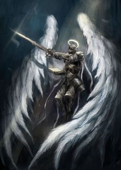 Fantasy House Decor Angel Knight with Majestic Wings Spiritual Superior Power Imagination Art Print Petrol Blue Gray Dining Room Kitchen Rectangular Table Cover Home Foto Fantasy, Fantasy Kunst, Fantasy World, Dark Fantasy, Fantasy House, Male Angels, Angels And Demons, Angel Warrior, Fantasy Warrior