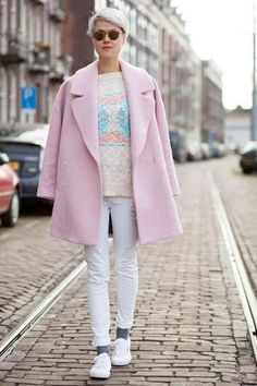Fabric and colour options - large coat Pastel Shirt, Pastel Outfit, Superga, Pink Wool Coat, Pink Coats, Iranian Women Fashion, Preppy Casual, Fall Outfits, Fashion Outfits