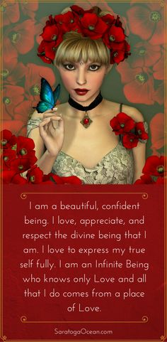This affirmation expresses the truth of who you really are! If you are feeling low in self-confidence, or if you experience fear about expressing your true self fully, let this affirmation help you remember your truth. You are a powerful, beautiful, infinite being of Love! <3