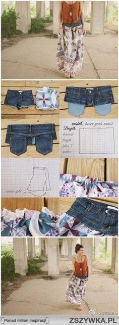 Von einer alten Jeans und schönem Stoff einen super schönen Boho Rock machen.