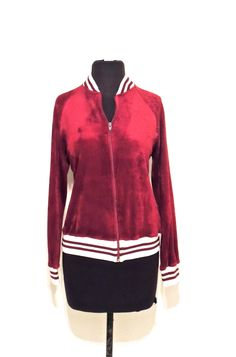Vintage banded track jacket - 1970s maroon/white zip up velour jacket
