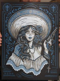 Las Bandidas  Silk Screen Art Print by strawcastle on Etsy, $19.99