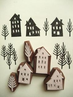 little house stamps that make a village, adorable! This would be really cute in bright inks too
