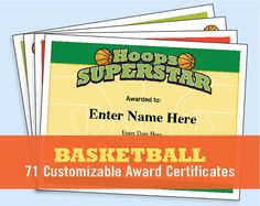 Basketball Certificates — Recognize basketball players, coaches, and parents with these stylish certificates, and communicate to your players and their parents with coach handouts. Includes 71 certificates and coaching form printables with various designs in a downloadable PDF file that works on PCs or Macs. Great for basketball players, basketball coaches, basketball team parents, basketball moms, basketball dads and basketball lovers.  Just personalize, print, and present!  Customize these... Basketball Practice Plans, Basketball Awards, Basketball Tricks, Basketball Workouts, Basketball Skills, Basketball Coach, Basketball Uniforms, Basketball Players, Basketball Jersey