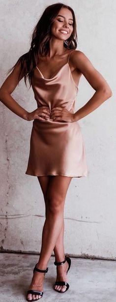 #spring #outfits beige spagetti strap mini dress. Pic by @mishkahfashion