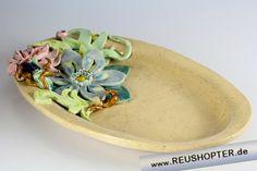 Keramikplatte, Keramik, Blumenplatte, Keramikblumen, Tischkeramik, Ton, Handarbeit, Geschenke aus Keramik, Geschenke aus Ton