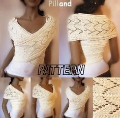 Knitting Pattern Lace Knit sweater Womens vest by PillandPattern Knit Vest Pattern, Lace Knitting Patterns, Shrug Pattern, Crochet Pattern, Baby Pullover Muster, Lace Wrap, Pulls, Diy Fashion, Petite Fashion