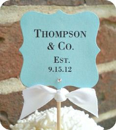 NEW - Personalized Tiffany & Co Inspired Wedding / Bridal / Baby Dessert Table Food Labels - W/ Gems / Tent Style / Cottage Chic - Set of 10. $32.50, via Etsy.