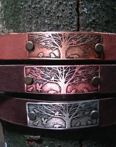 crow-leather-bracelet-etched by   Curious Crow Jewelry