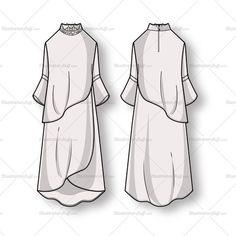 Women's Long Sleeve Flowy Dress Fashion Flat Template