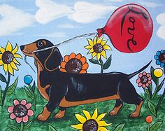 """""""There is Nothing Like a Doxie's Love"""" New Original Painting Julie Ellison Art 8"""" x 10"""""""