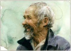 Art Of Watercolor: Guan Weixing Portraits Watercolor Portraits, Watercolor And Ink, Watercolor Paintings, Watercolours, Painting People, 3d Max, Guangzhou, Figurative Art, Traditional Art