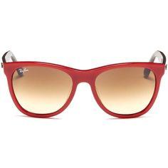 Ray-Ban 'Original Wayfarer' colourblock acetate sunglasses (235 CAD) ❤ liked on Polyvore featuring accessories, eyewear, sunglasses, glasses, red, wayfarer style sunglasses, ray ban wayfarer, wayfarer style glasses, red glasses and wayfare