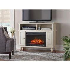 Home Decorators Collection Ashurst 46 in. Media Console Infrared Electric Fireplace in Washed Linen WSFP46ECHD-5 at The Home Depot - Mobile