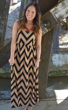 Black/Tan Chevron Maxi Dress!  #BellaBoutique #NWA