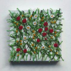 Meadow miniature textile art canvas machine by chocolatefrog, Art Fibres Textiles, Textile Fiber Art, Textile Artists, Tela Soluble En Agua, Water Soluble Fabric, Fabric Postcards, Creative Textiles, Textiles Techniques, Thread Painting