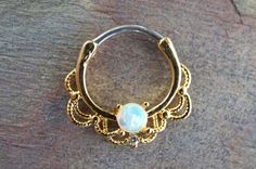 16 Gauge Gold White Opal Daith Hoop Ring Daith by MidnightsMojo