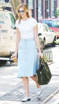 3. Trade Jeans for a Denim Skirt