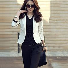 gola alfaiate moda casual cor sólida de algodão das mulheres Zian ® caber mangas compridas terno – BRL R$ 38,97