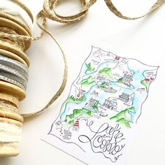 Lake Como Wedding Invitation/ Lake Como Map/ by DesignerMapsByZoe
